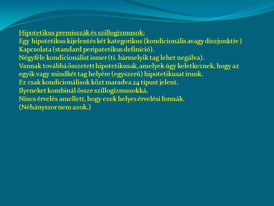 Hipotetikus premisszák és szillogizmusok: Egy hipotetikus kijelentés két kategorikus (kondicionális avagy diszjunktív ) Kapcsolata (standard peripatet