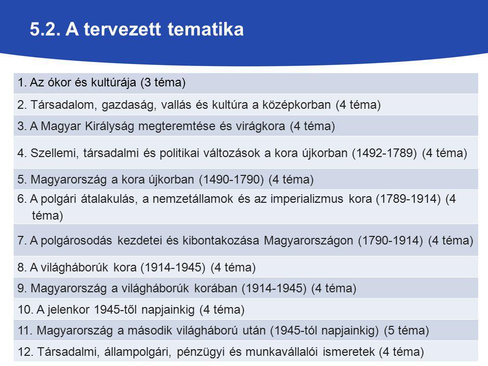 5.2. A tervezett tematika 1. Az ókor és kultúrája (3 téma) 2. Társadalom, gazdaság, vallás és kultúra a középkorban (4 téma) 3. A Magyar Királyság meg