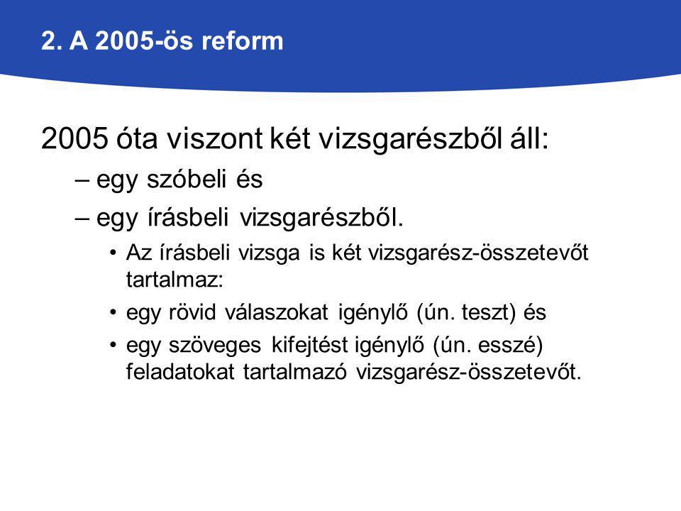 2. A 2005-ös reform 2005 óta viszont két vizsgarészből áll: –egy szóbeli és –egy írásbeli vizsgarészből. Az írásbeli vizsga is két vizsgarész-összetev