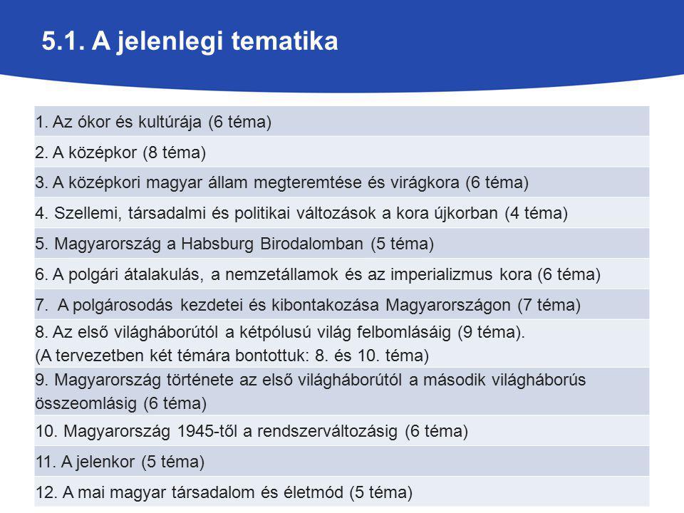 5.1. A jelenlegi tematika 1. Az ókor és kultúrája (6 téma) 2. A középkor (8 téma) 3. A középkori magyar állam megteremtése és virágkora (6 téma) 4. Sz