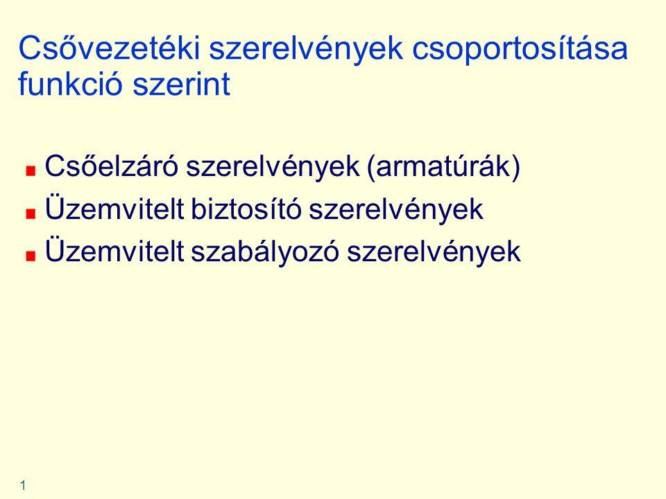 1 Csővezetéki szerelvények csoportosítása funkció szerint Csőelzáró szerelvények (armatúrák) Üzemvitelt biztosító szerelvények Üzemvitelt szabályozó s