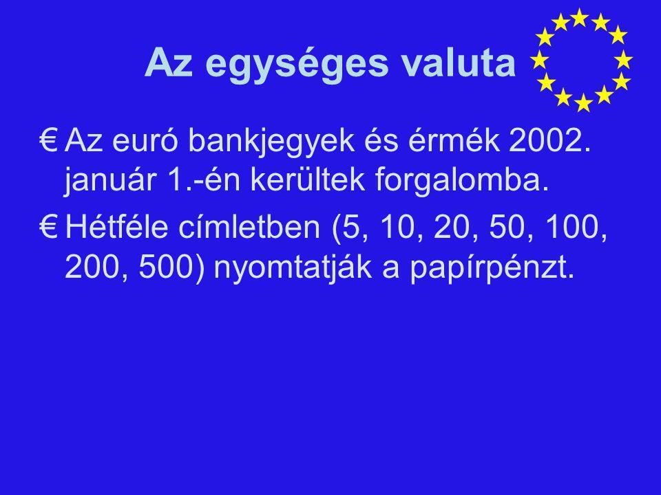 Az egységes valuta €Az euró bankjegyek és érmék 2002. január 1.-én kerültek forgalomba. €Hétféle címletben (5, 10, 20, 50, 100, 200, 500) nyomtatják a