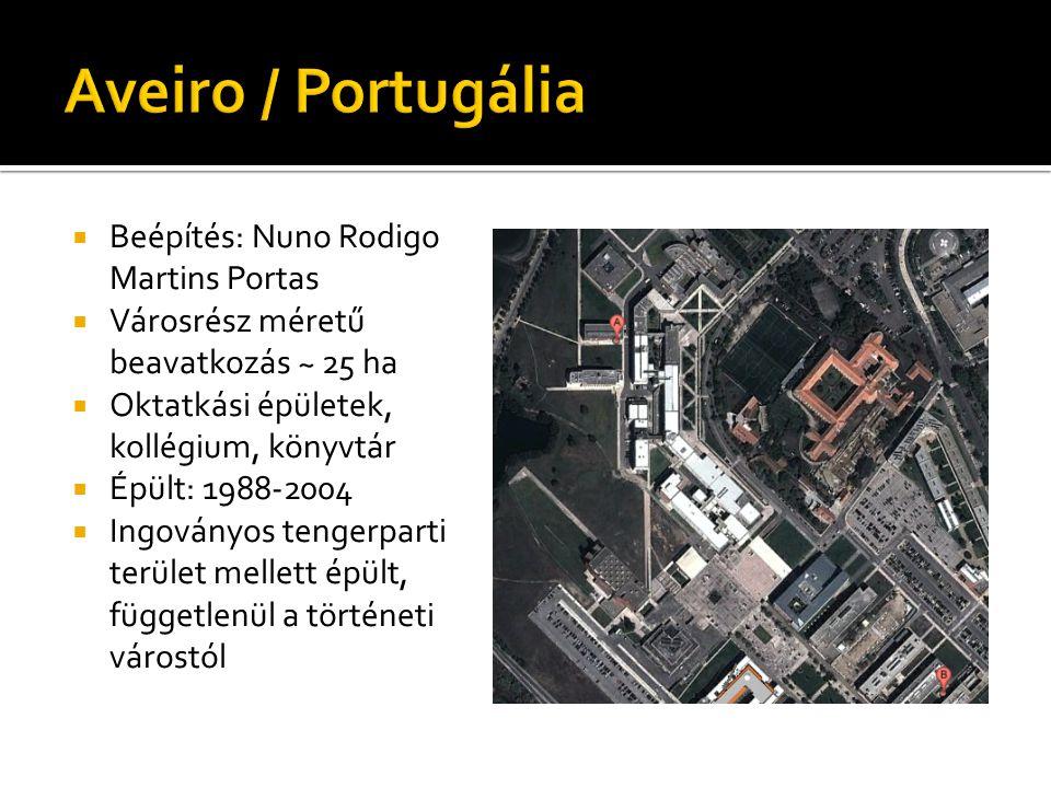  Beépítés: Nuno Rodigo Martins Portas  Városrész méretű beavatkozás ~ 25 ha  Oktatkási épületek, kollégium, könyvtár  Épült: 1988-2004  Ingoványos tengerparti terület mellett épült, függetlenül a történeti várostól