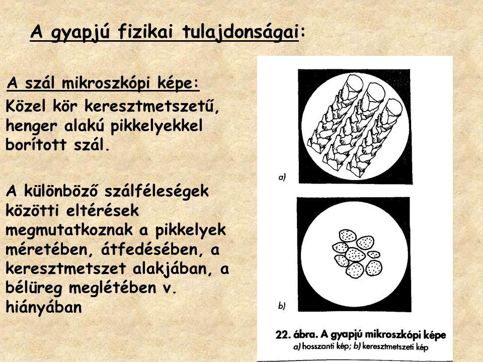 A gyapjú fizikai tulajdonságai: A szál mikroszkópi képe: Közel kör keresztmetszetű, henger alakú pikkelyekkel borított szál. A különböző szálféleségek