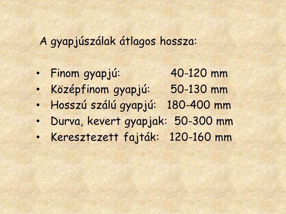 A gyapjúszálak átlagos hossza: Finom gyapjú: 40-120 mm Középfinom gyapjú: 50-130 mm Hosszú szálú gyapjú: 180-400 mm Durva, kevert gyapjak: 50-300 mm K