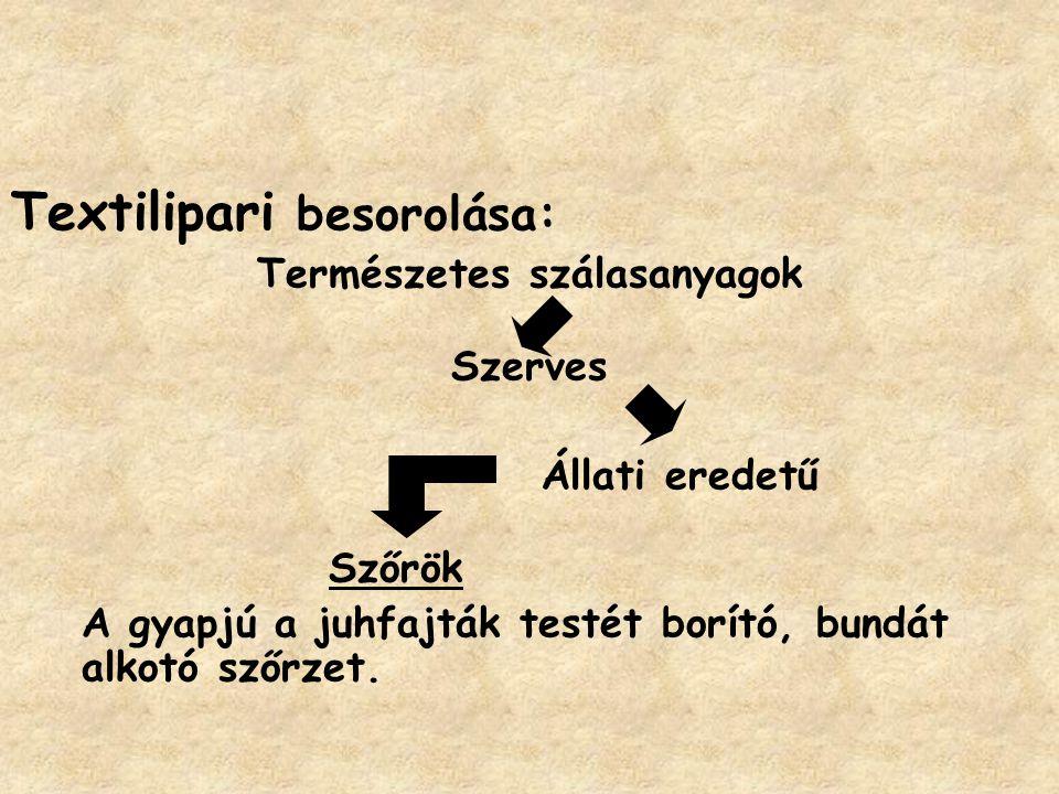 Juhfajták: a)Finom gyapjút adó merinó fajták pl.