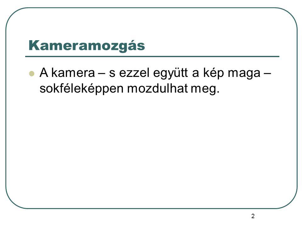 3 A kameramozgások fajtái A gépmozgások négyféle alapmozgásra vezethetők vissza, melyek külön-külön, de egymással kombinálva is alkalmazhatóak.
