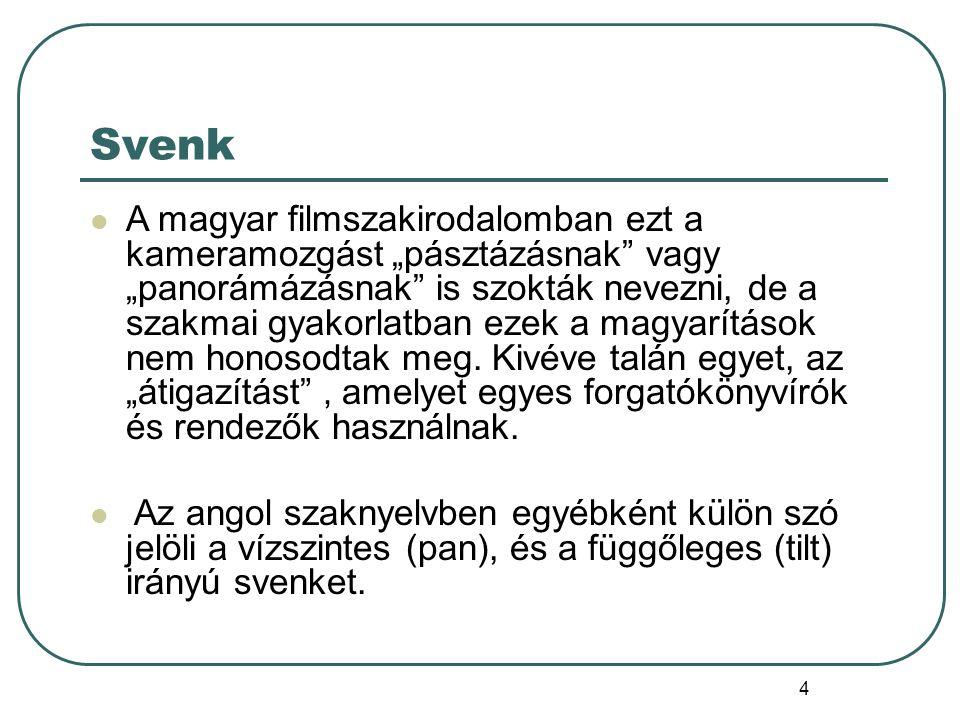 """4 Svenk A magyar filmszakirodalomban ezt a kameramozgást """"pásztázásnak"""" vagy """"panorámázásnak"""" is szokták nevezni, de a szakmai gyakorlatban ezek a mag"""