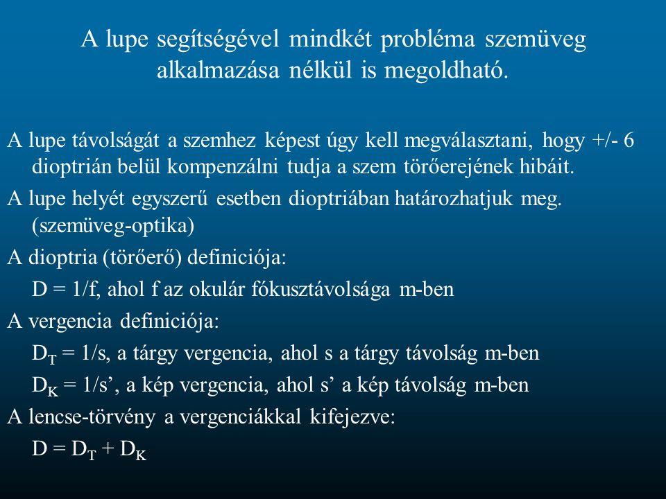 A lupe segítségével mindkét probléma szemüveg alkalmazása nélkül is megoldható. A lupe távolságát a szemhez képest úgy kell megválasztani, hogy +/- 6