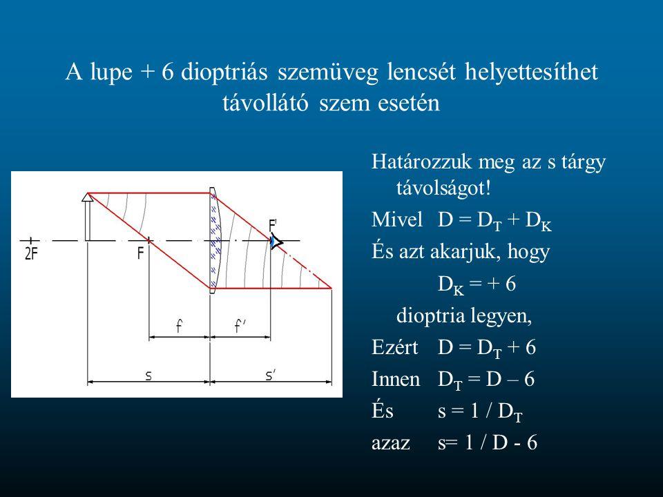 A lupe + 6 dioptriás szemüveg lencsét helyettesíthet távollátó szem esetén Határozzuk meg az s tárgy távolságot! MivelD = D T + D K És azt akarjuk, ho