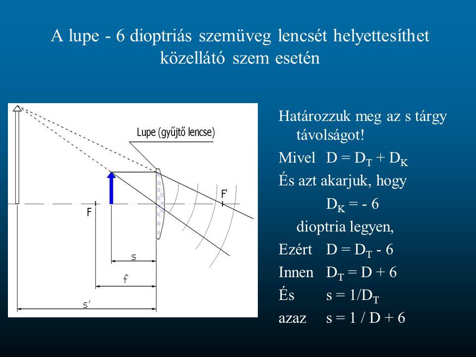 A lupe - 6 dioptriás szemüveg lencsét helyettesíthet közellátó szem esetén Határozzuk meg az s tárgy távolságot! MivelD = D T + D K És azt akarjuk, ho