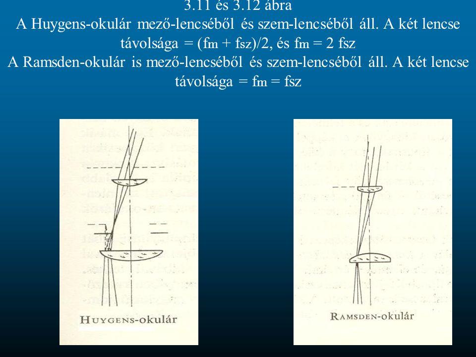 3.11 és 3.12 ábra A Huygens-okulár mező-lencséből és szem-lencséből áll. A két lencse távolsága = (f m + f sz )/2, és f m = 2 fsz A Ramsden-okulár is