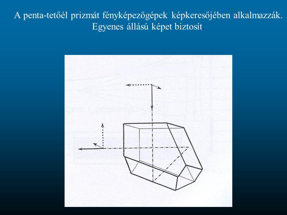 A penta-tetőél prizmát fényképezőgépek képkeresőjében alkalmazzák. Egyenes állású képet biztosít.