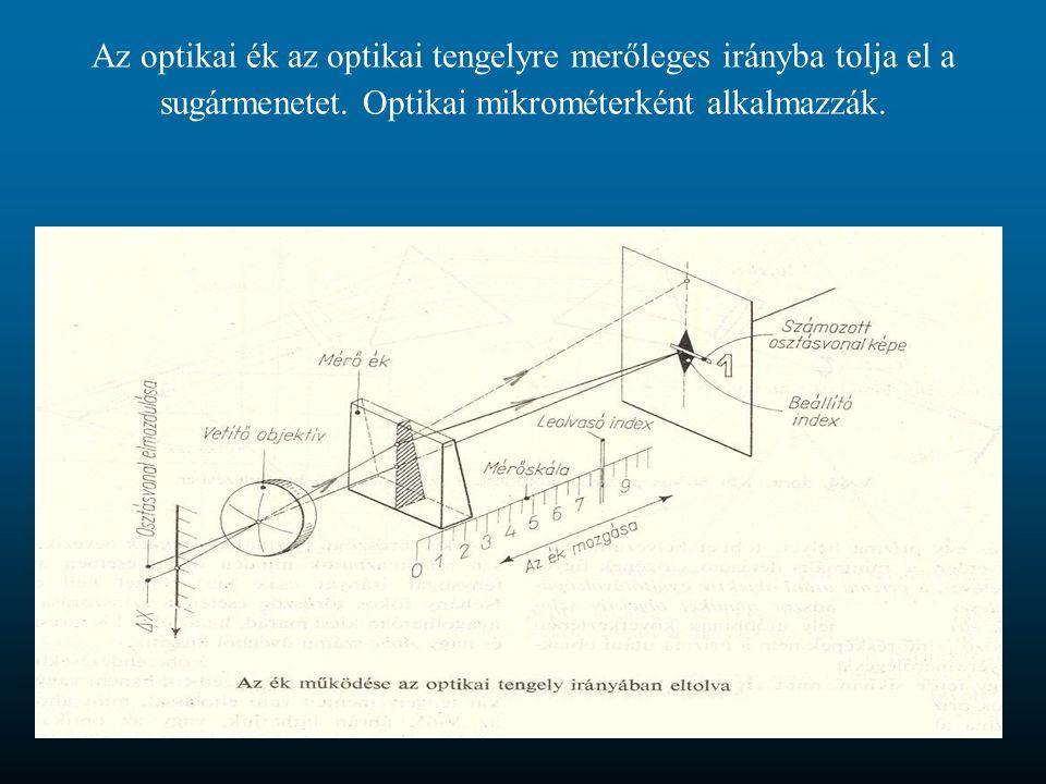 Az optikai ék az optikai tengelyre merőleges irányba tolja el a sugármenetet. Optikai mikrométerként alkalmazzák.