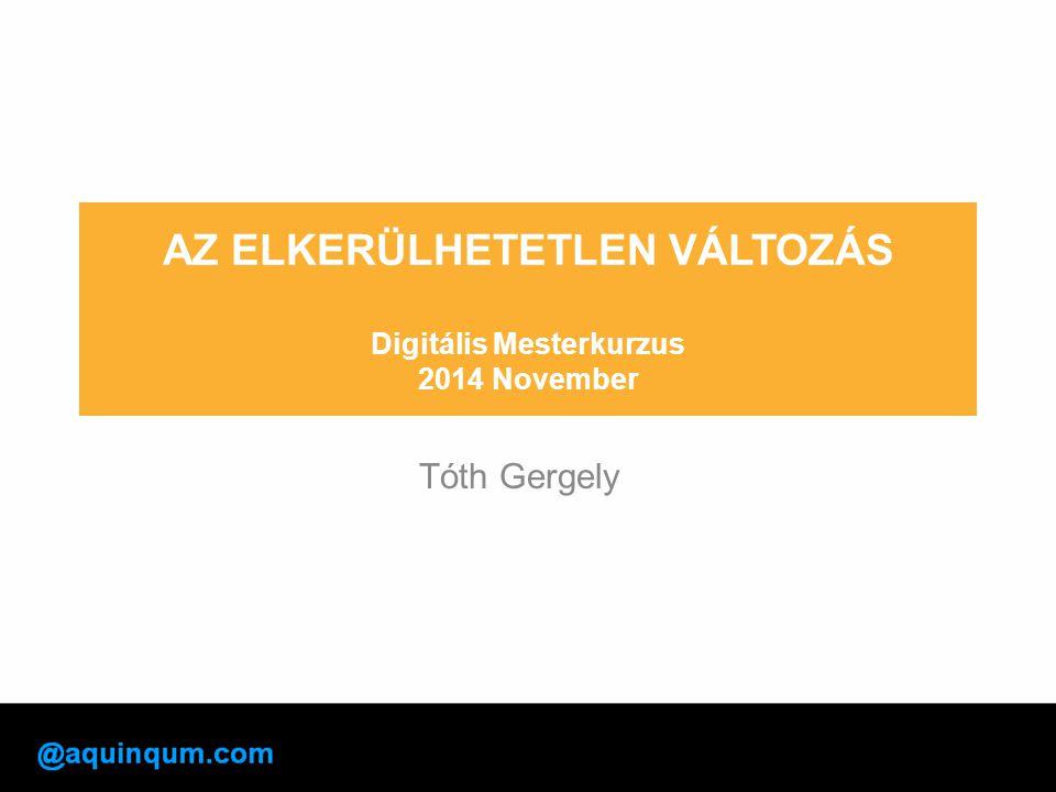 AZ ELKERÜLHETETLEN VÁLTOZÁS Digitális Mesterkurzus 2014 November Tóth Gergely