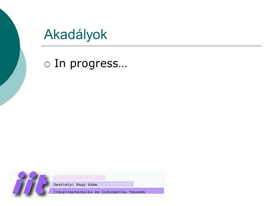 Akadályok  In progress… Irányítástechnika és Informatika Tanszék Gesztelyi Nagy Ádám