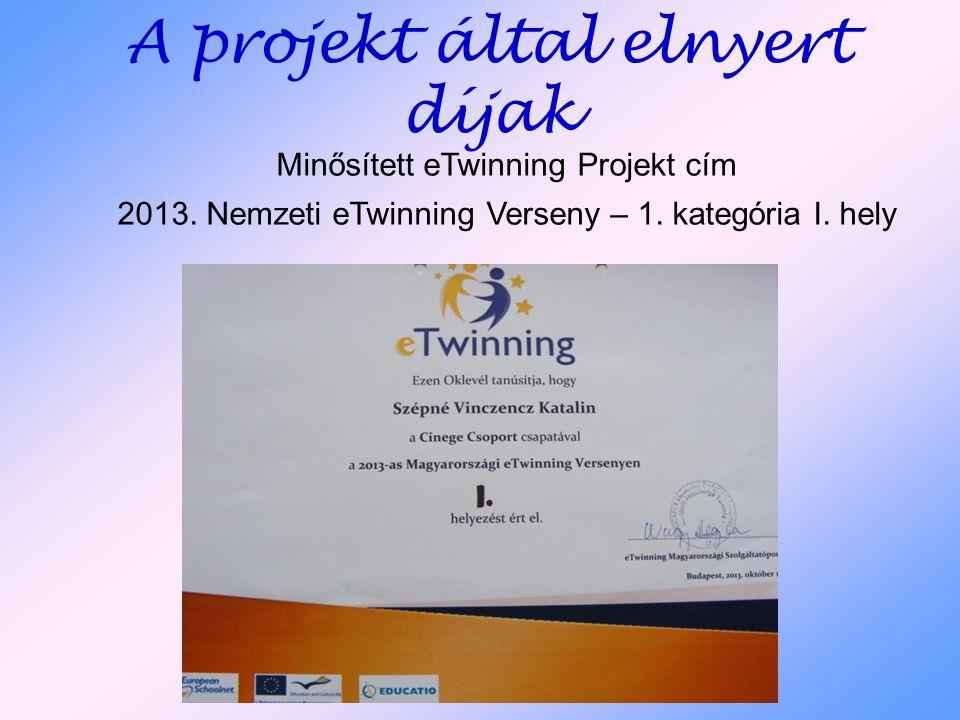 A projekt által elnyert díjak Minősített eTwinning Projekt cím 2013. Nemzeti eTwinning Verseny – 1. kategória I. hely