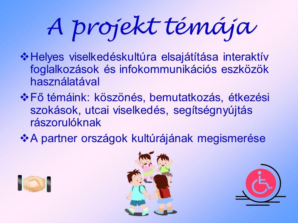 A projekt témája  Helyes viselkedéskultúra elsajátítása interaktív foglalkozások és infokommunikációs eszközök használatával  Fő témáink: köszönés, bemutatkozás, étkezési szokások, utcai viselkedés, segítségnyújtás rászorulóknak  A partner országok kultúrájának megismerése