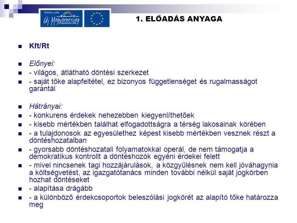 1. ELŐADÁS ANYAGA Kft/Rt Előnyei: - világos, átlátható döntési szerkezet - saját tőke alapfeltétel, ez bizonyos függetlenséget és rugalmasságot garant