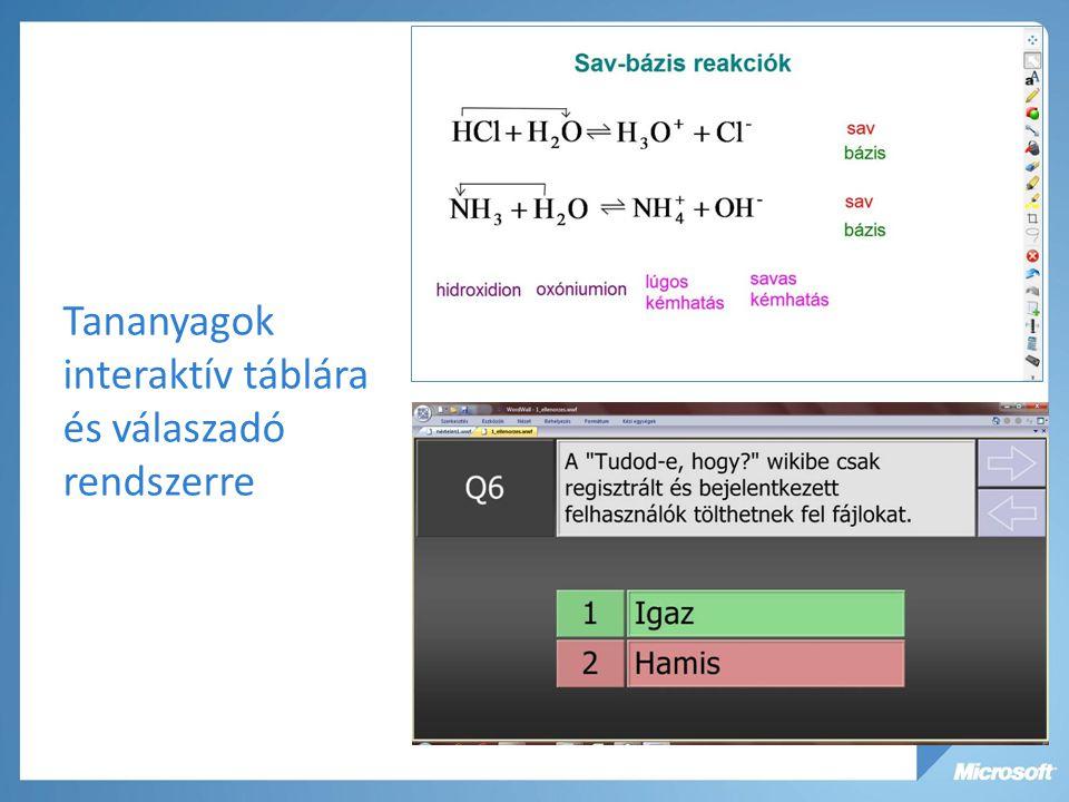 Tananyagok interaktív táblára és válaszadó rendszerre