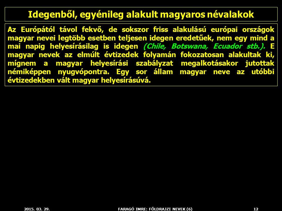 2015. 03. 29.FARAGÓ IMRE: FÖLDRAJZI NEVEK (6)12 Az Európától távol fekvő, de sokszor friss alakulású európai országok magyar nevei legtöbb esetben tel