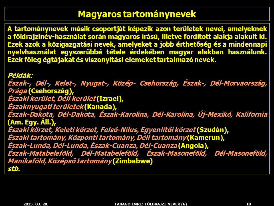 2015. 03. 29.FARAGÓ IMRE: FÖLDRAJZI NEVEK (6)18 A tartománynevek másik csoportját képezik azon területek nevei, amelyeknek a földrajzinév-használat so