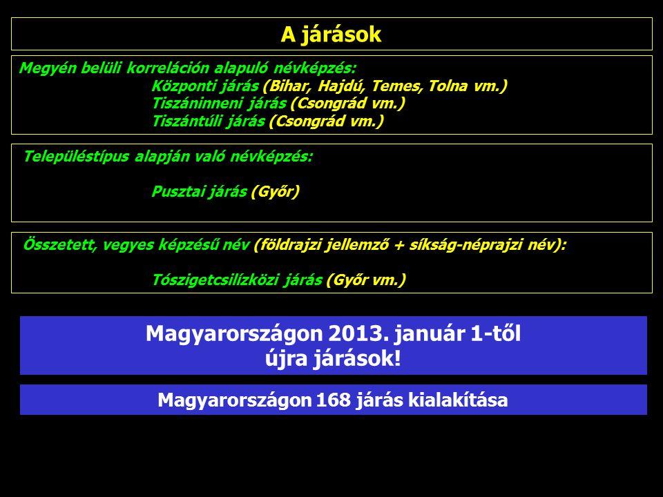 Megyén belüli korreláción alapuló névképzés: Központi járás (Bihar, Hajdú, Temes, Tolna vm.) Tiszáninneni járás (Csongrád vm.) Tiszántúli járás (Csongrád vm.) Településtípus alapján való névképzés: Pusztai járás (Győr) Összetett, vegyes képzésű név (földrajzi jellemző + síkság-néprajzi név): Tószigetcsilízközi járás (Győr vm.) A járások Magyarországon 168 járás kialakítása Magyarországon 2013.