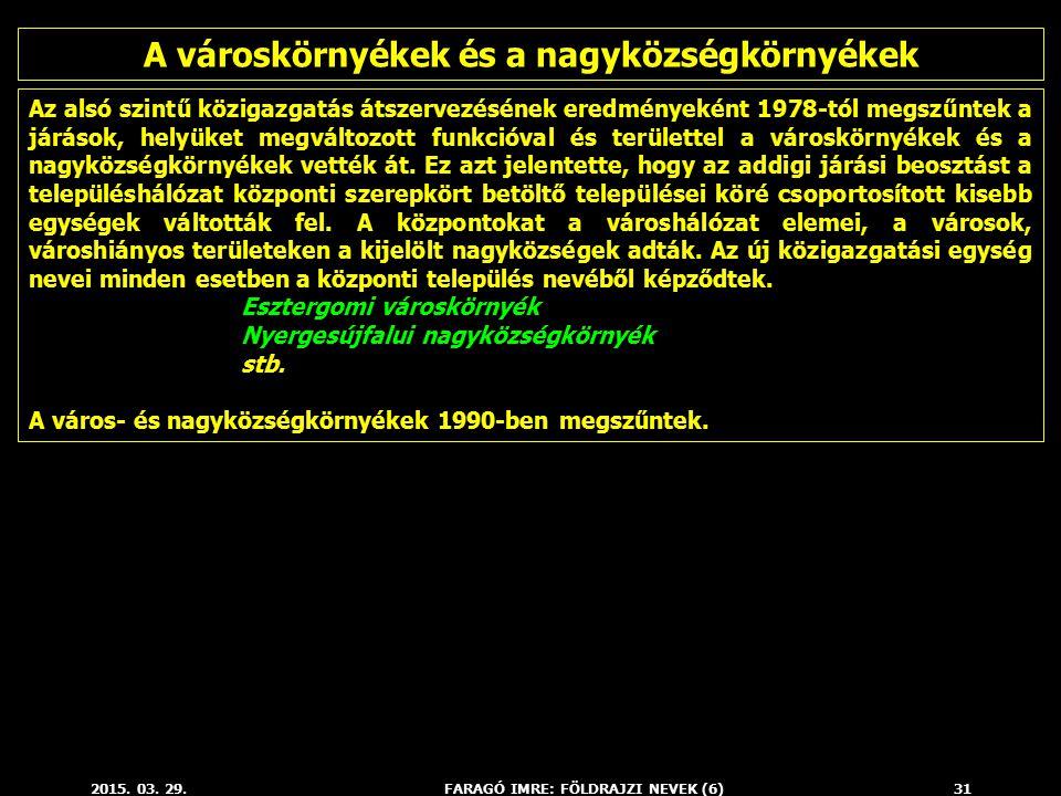 2015. 03. 29.FARAGÓ IMRE: FÖLDRAJZI NEVEK (6)31 Az alsó szintű közigazgatás átszervezésének eredményeként 1978-tól megszűntek a járások, helyüket megv