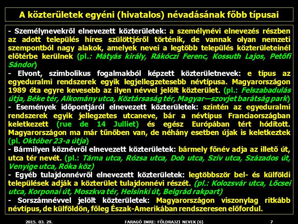 2015. 03. 29.FARAGÓ IMRE: FÖLDRAJZI NEVEK (6)7 - Személynevekről elnevezett közterületek: a személynévi elnevezés részben az adott település híres szü