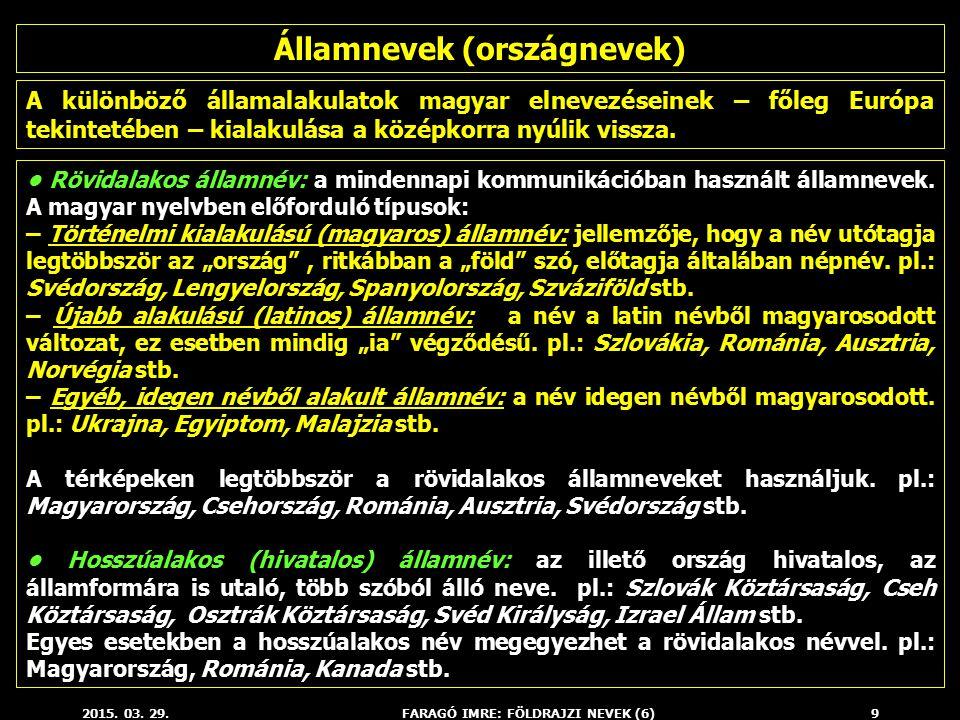 2015. 03. 29.FARAGÓ IMRE: FÖLDRAJZI NEVEK (6)9 A különböző államalakulatok magyar elnevezéseinek – főleg Európa tekintetében – kialakulása a középkorr