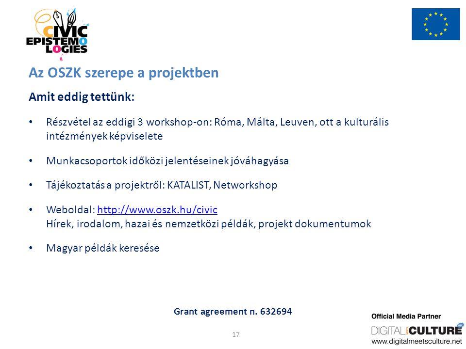 Grant agreement n. 632694 Az OSZK szerepe a projektben Amit eddig tettünk: Részvétel az eddigi 3 workshop-on: Róma, Málta, Leuven, ott a kulturális in