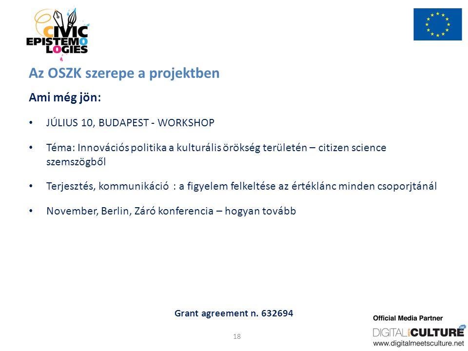 Grant agreement n. 632694 Az OSZK szerepe a projektben Ami még jön: JÚLIUS 10, BUDAPEST - WORKSHOP Téma: Innovációs politika a kulturális örökség terü
