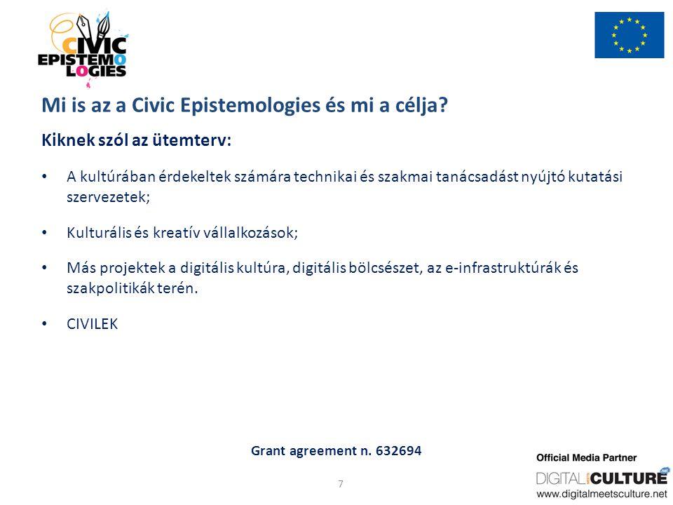 Grant agreement n.632694 Mi is az a Civic Epistemologies és mi a célja.
