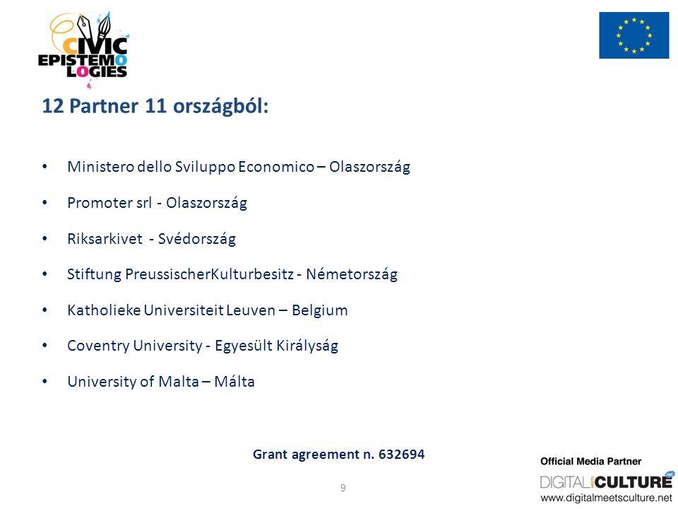 Grant agreement n. 632694 12 Partner 11 országból: Ministero dello Sviluppo Economico – Olaszország Promoter srl - Olaszország Riksarkivet - Svédorszá
