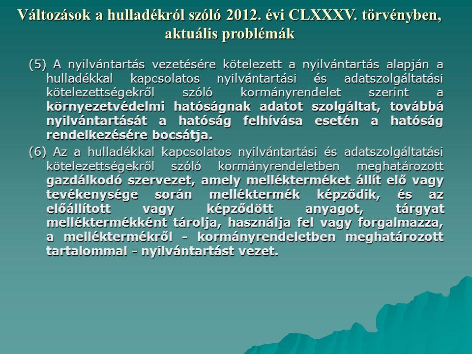 Változások a hulladékról szóló 2012.évi CLXXXV.