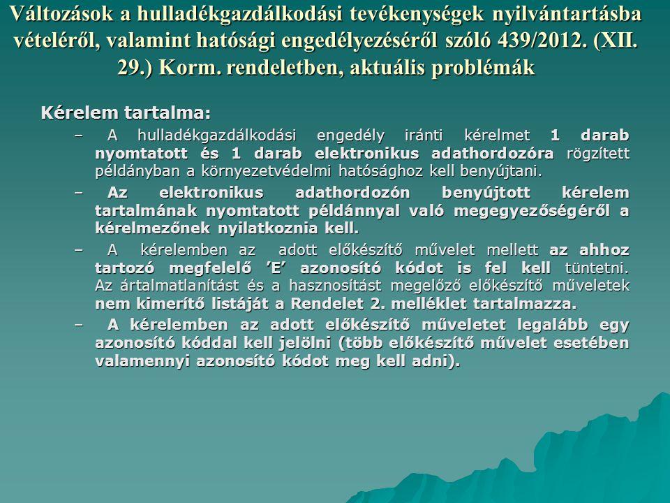 Változások a hulladékgazdálkodási tevékenységek nyilvántartásba vételéről, valamint hatósági engedélyezéséről szóló 439/2012.
