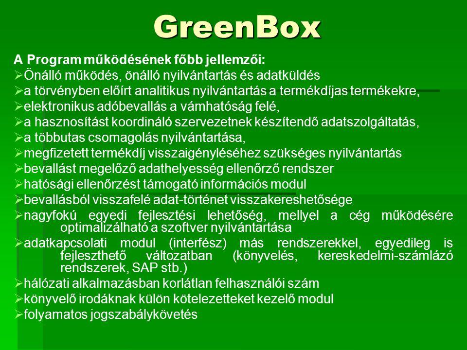 GreenBox A Program működésének főbb jellemzői:   Önálló működés, önálló nyilvántartás és adatküldés   a törvényben előírt analitikus nyilvántartás a termékdíjas termékekre,   elektronikus adóbevallás a vámhatóság felé,   a hasznosítást koordináló szervezetnek készítendő adatszolgáltatás,   a többutas csomagolás nyilvántartása,   megfizetett termékdíj visszaigényléséhez szükséges nyilvántartás   bevallást megelőző adathelyesség ellenőrző rendszer   hatósági ellenőrzést támogató információs modul   bevallásból visszafelé adat-történet visszakereshetősége   nagyfokú egyedi fejlesztési lehetőség, mellyel a cég működésére optimalizálható a szoftver nyilvántartása   adatkapcsolati modul (interfész) más rendszerekkel, egyedileg is fejleszthető változatban (könyvelés, kereskedelmi-számlázó rendszerek, SAP stb.)   hálózati alkalmazásban korlátlan felhasználói szám   könyvelő irodáknak külön kötelezetteket kezelő modul   folyamatos jogszabálykövetés