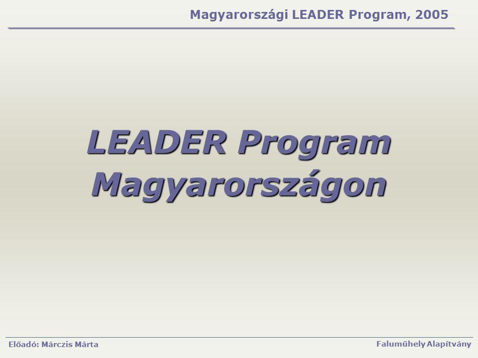 Előadó: Márczis Márta Faluműhely Alapítvány Magyarországi LEADER Program, 2005 LEADER Program Magyarországon