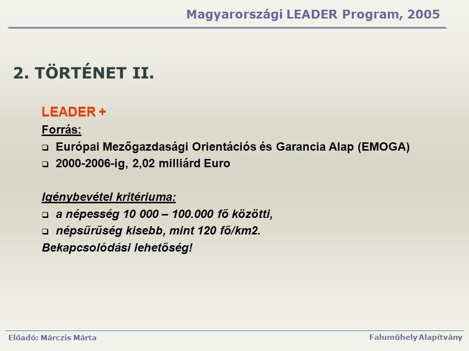 Előadó: Márczis Márta Faluműhely Alapítvány Magyarországi LEADER Program, 2005 2. TÖRTÉNET II. LEADER + Forrás:  Európai Mezőgazdasági Orientációs és