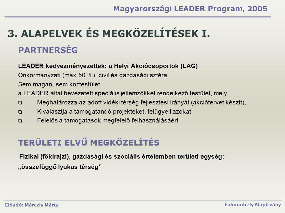 Előadó: Márczis Márta Faluműhely Alapítvány Magyarországi LEADER Program, 2005 3. ALAPELVEK ÉS MEGKÖZELÍTÉSEK I. PARTNERSÉG LEADER kedvezményezettek: