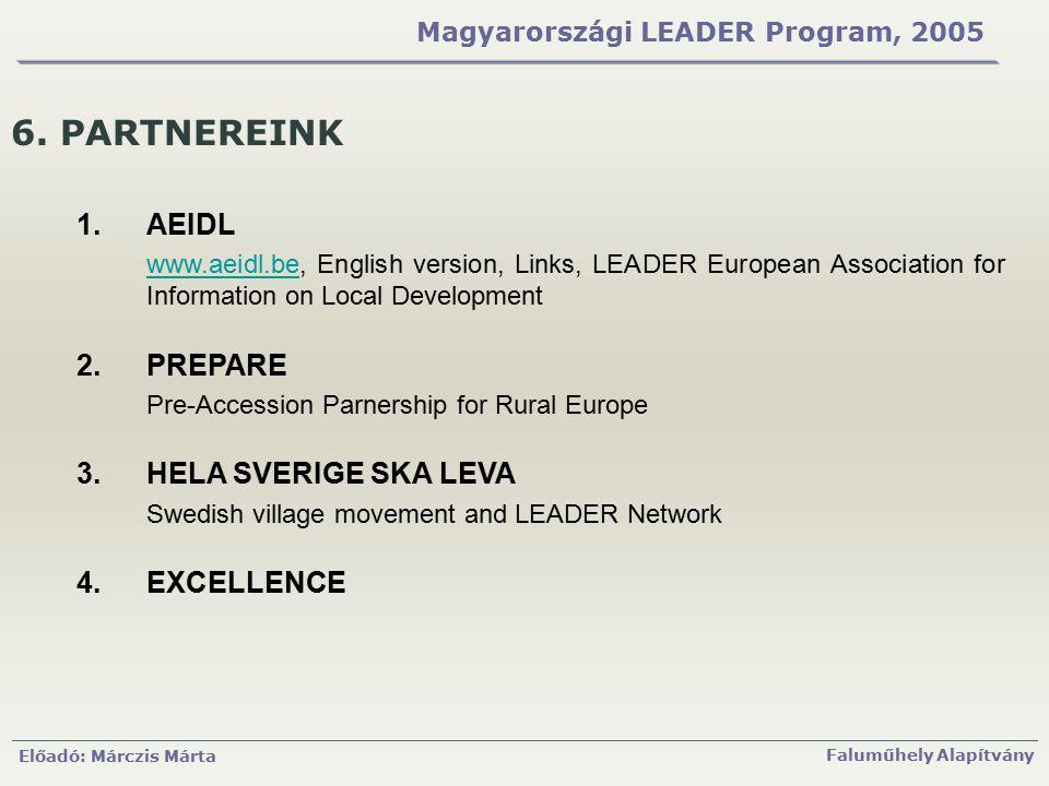 Előadó: Márczis Márta Faluműhely Alapítvány Magyarországi LEADER Program, 2005 6. PARTNEREINK 1.AEIDL www.aeidl.bewww.aeidl.be, English version, Links