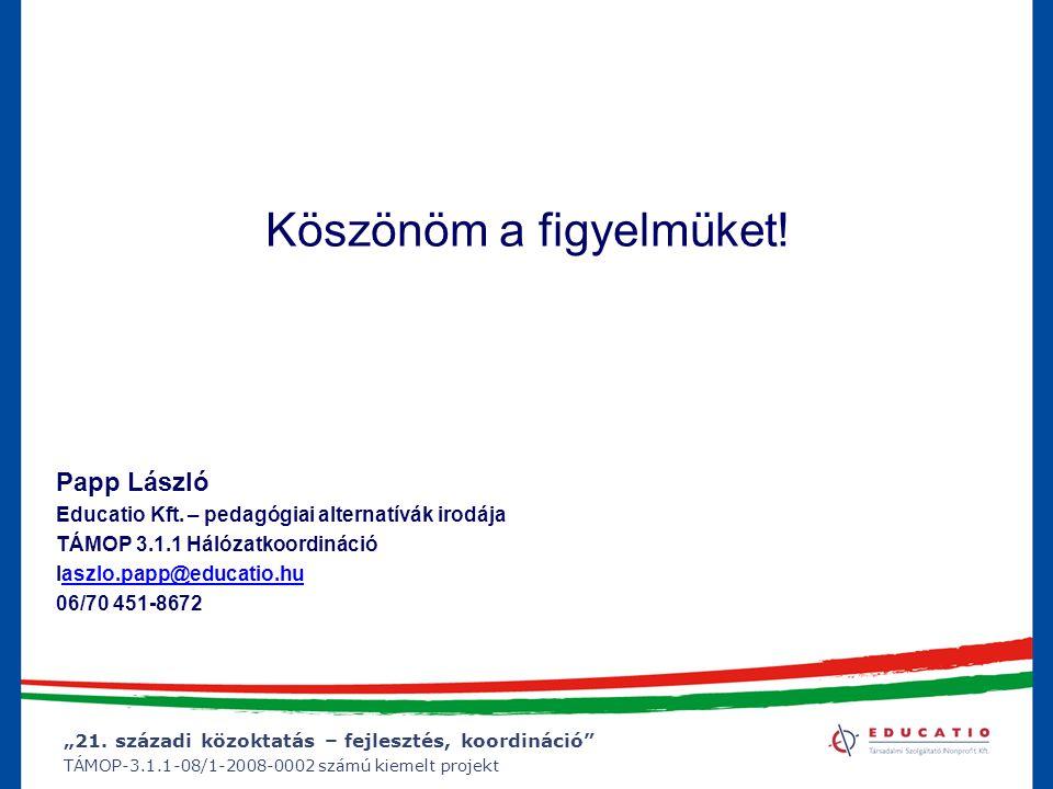 """""""21. századi közoktatás – fejlesztés, koordináció"""" TÁMOP-3.1.1-08/1-2008-0002 számú kiemelt projekt Köszönöm a figyelmüket! Papp László Educatio Kft."""