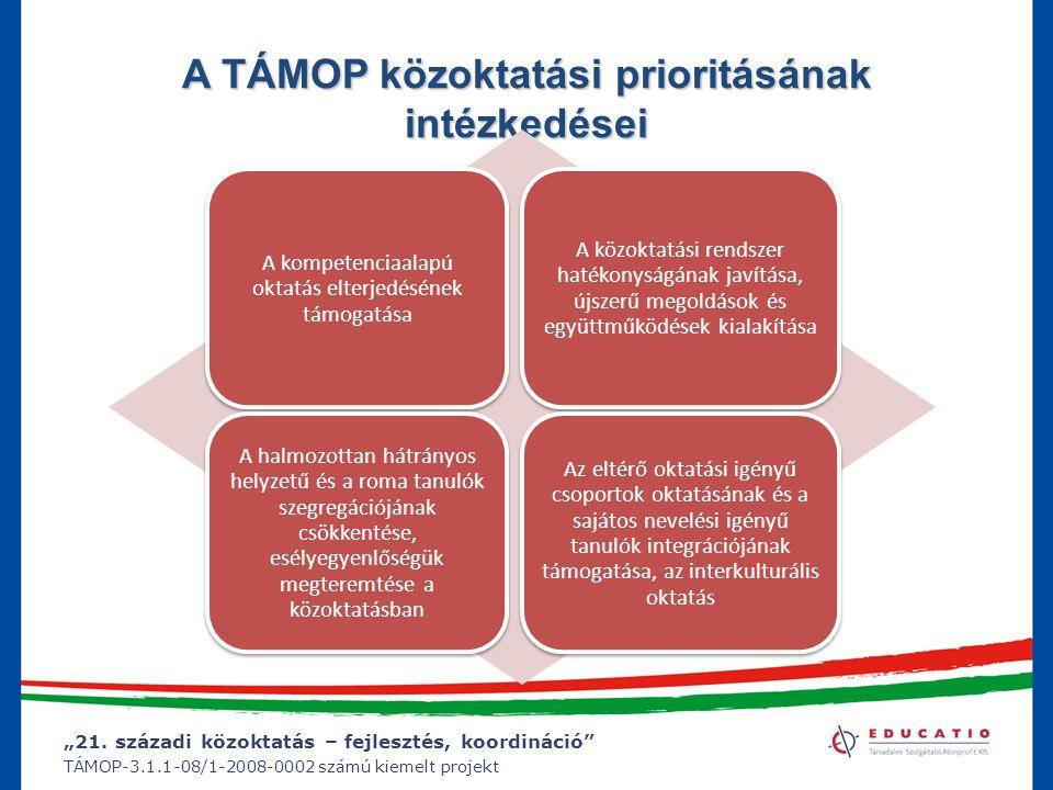 """""""21. századi közoktatás – fejlesztés, koordináció"""" TÁMOP-3.1.1-08/1-2008-0002 számú kiemelt projekt A TÁMOP közoktatási prioritásának intézkedései A k"""