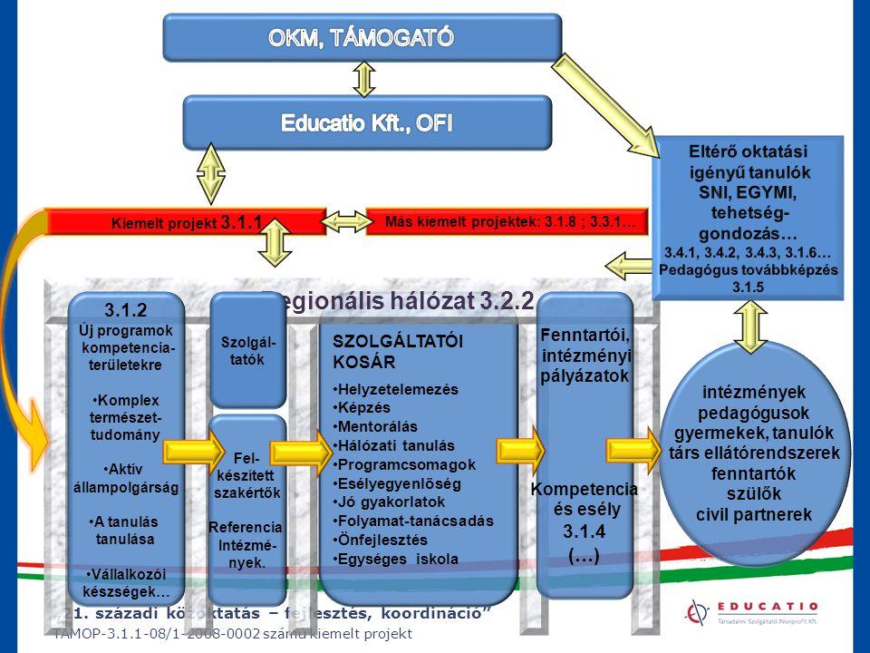 """""""21. századi közoktatás – fejlesztés, koordináció"""" TÁMOP-3.1.1-08/1-2008-0002 számú kiemelt projekt SZOLGÁLTATÓI KOSÁR Helyzetelemezés Képzés Mentorál"""