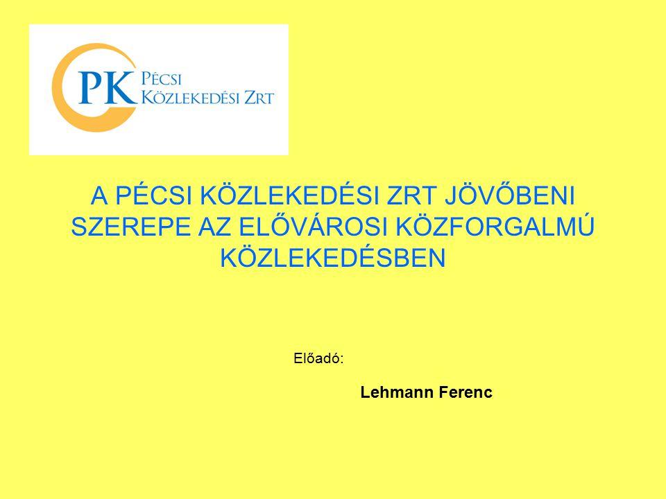 A PÉCSI KÖZLEKEDÉSI ZRT JÖVŐBENI SZEREPE AZ ELŐVÁROSI KÖZFORGALMÚ KÖZLEKEDÉSBEN Előadó: Lehmann Ferenc