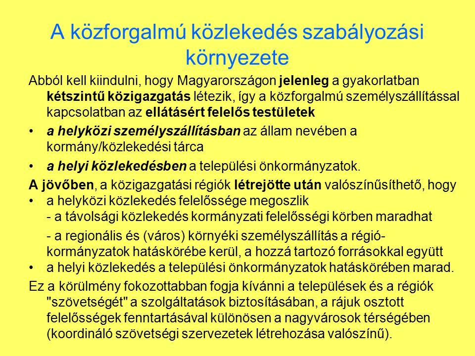 A közforgalmú közlekedés szabályozási környezete Abból kell kiindulni, hogy Magyarországon jelenleg a gyakorlatban kétszintű közigazgatás létezik, így