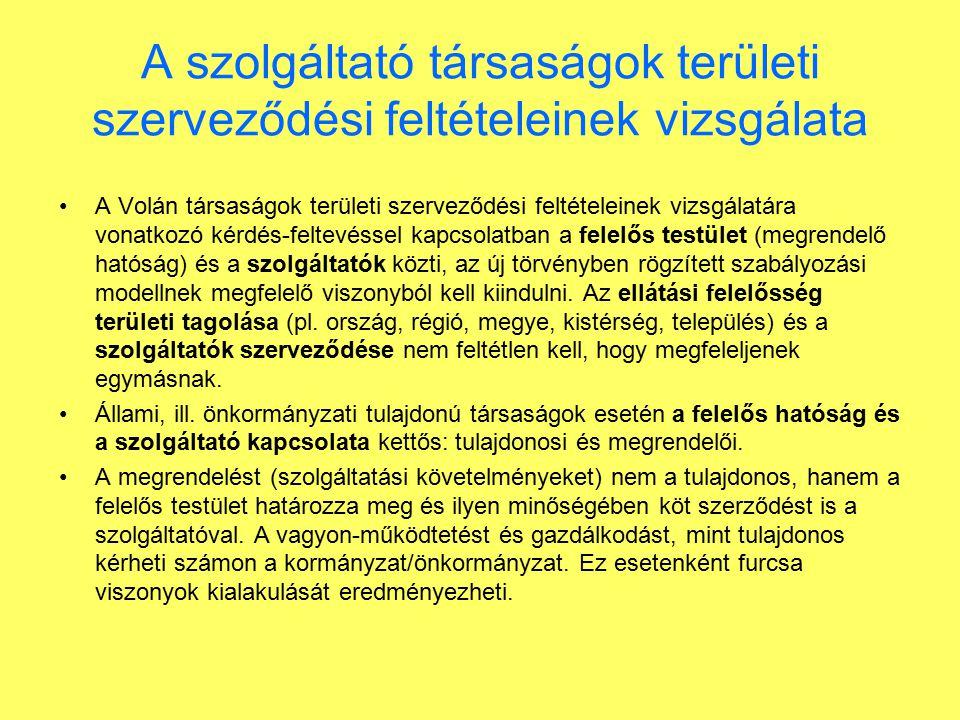 A szolgáltató társaságok területi szerveződési feltételeinek vizsgálata A Volán társaságok területi szerveződési feltételeinek vizsgálatára vonatkozó