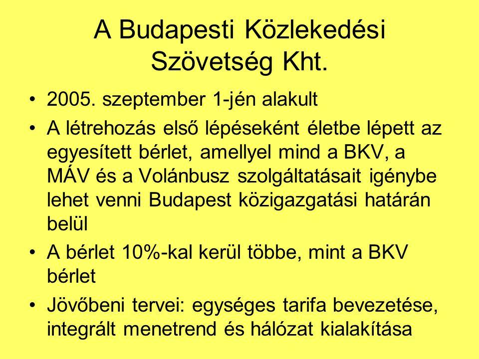 A Budapesti Közlekedési Szövetség Kht. 2005. szeptember 1-jén alakult A létrehozás első lépéseként életbe lépett az egyesített bérlet, amellyel mind a