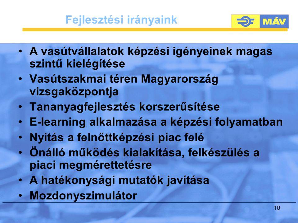 10 Fejlesztési irányaink A vasútvállalatok képzési igényeinek magas szintű kielégítése Vasútszakmai téren Magyarország vizsgaközpontja Tananyagfejlesztés korszerűsítése E-learning alkalmazása a képzési folyamatban Nyitás a felnőttképzési piac felé Önálló működés kialakítása, felkészülés a piaci megmérettetésre A hatékonysági mutatók javítása Mozdonyszimulátor