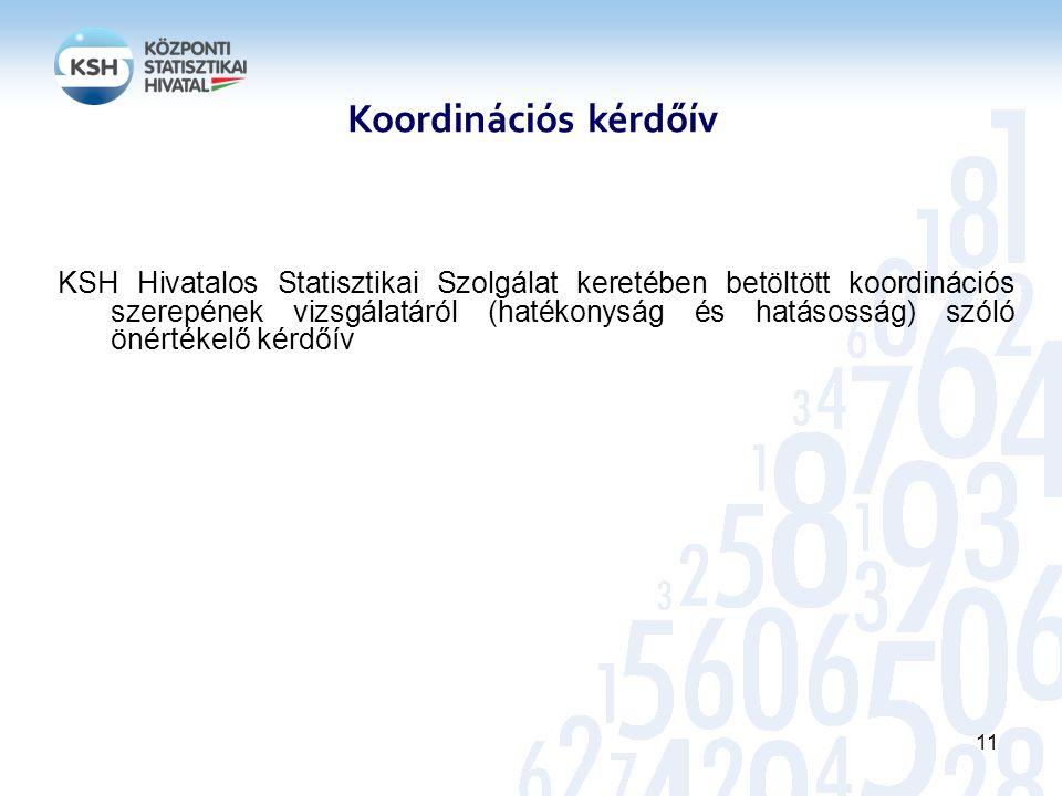 KSH Hivatalos Statisztikai Szolgálat keretében betöltött koordinációs szerepének vizsgálatáról (hatékonyság és hatásosság) szóló önértékelő kérdőív 11 Koordinációs kérdőív
